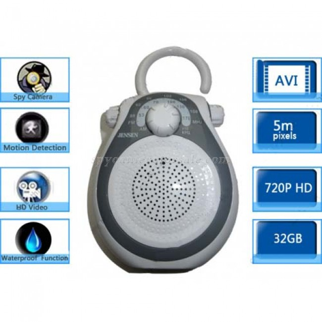 Bathroom Spy Shower Radio Camera - 32GB AM FM Shower Radio ...
